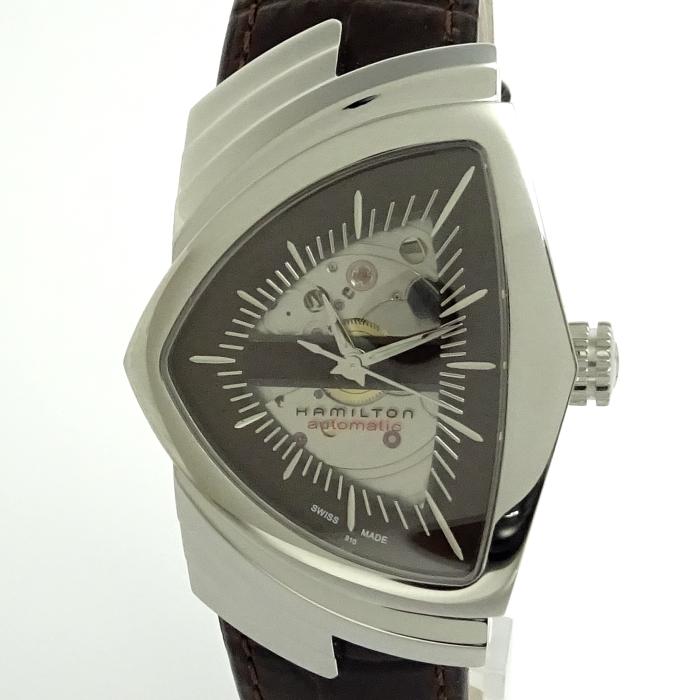 【中古】HAMILTON ベンチュラ 自動巻き ブラウン メンズ腕時計 SS スケルトン 革ベルト H245150