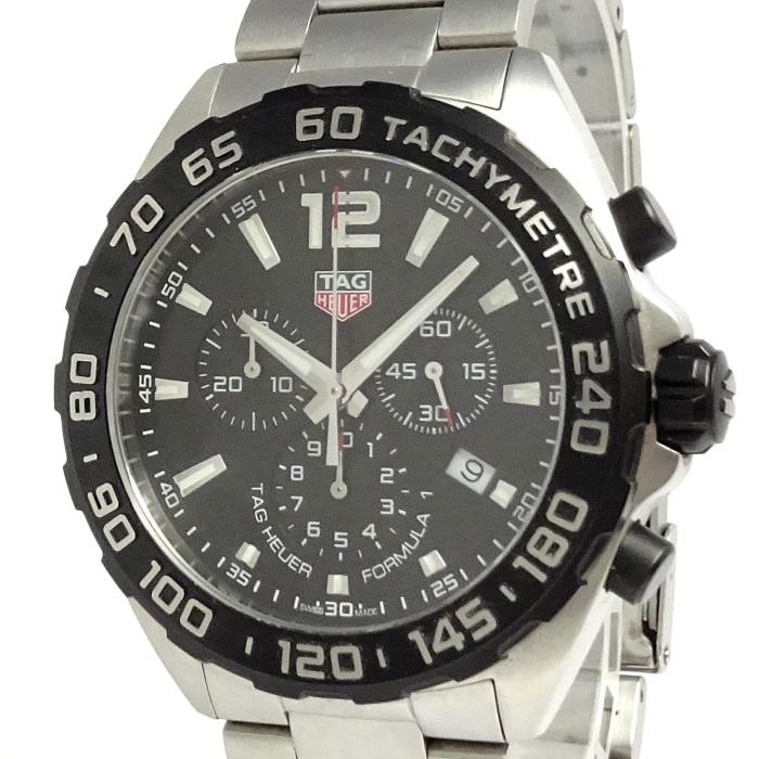 【中古】TAG Heuer フォーミュラー1 メンズ腕時計 クロノグラフ ブラック文字盤 SS CAZ1010
