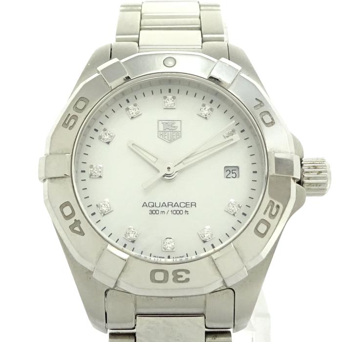 【中古】TAG Heuer メンズ腕時計 アクアレーサー ホワイトシェル文字盤 SS クォーツ WAY1413