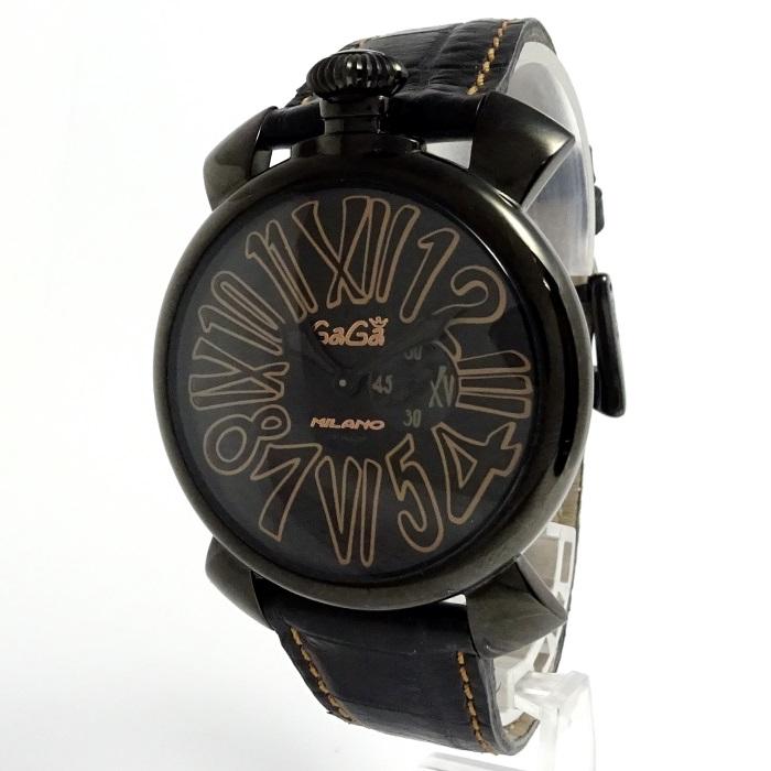 【中古】 マヌアーレ スリム46 メンズ腕時計 スモールセコンド クォーツ 黒文字盤 ブラックレザーベルト 5086.1