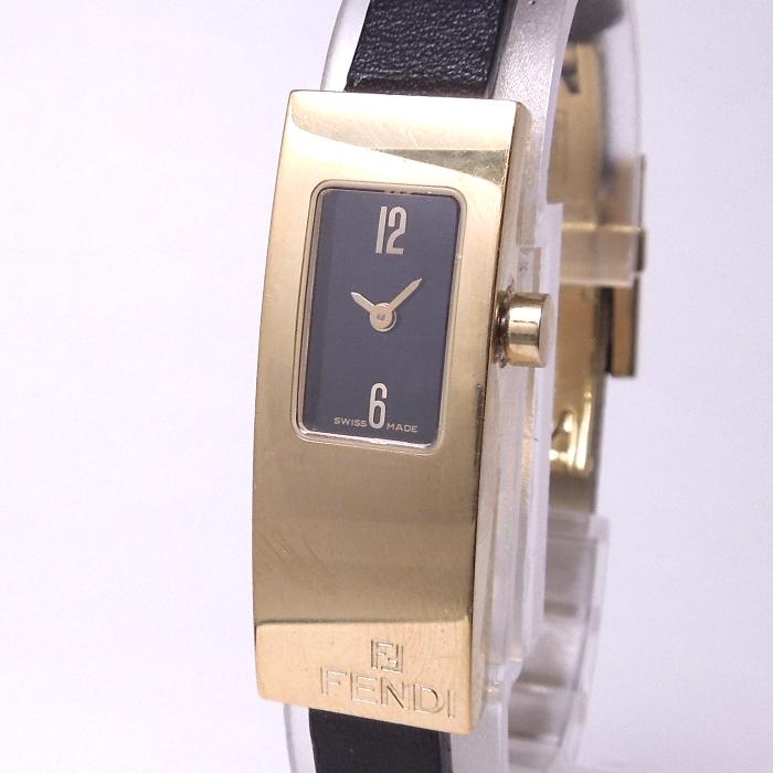 【中古】FENDI レディース腕時計 クォーツ ゴールド GP/革 ブラックレザーベルト 黒文字盤 3300L
