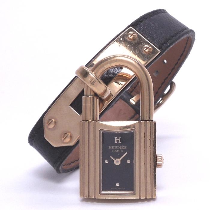 【中古】HERMES ケリーウォッチ レディース腕時計 クォーツ GP ブラック文字盤 ○Z刻印 黒 レザー KE1.210