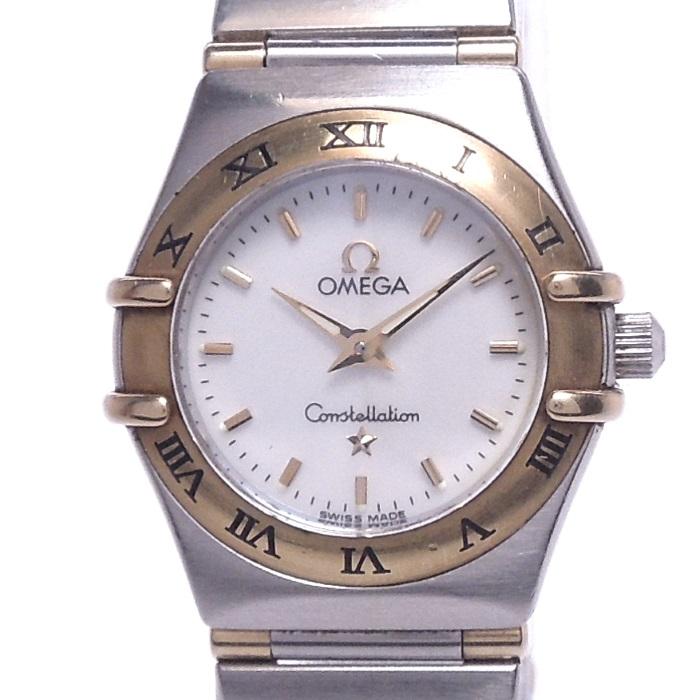 【中古】OMEGA コンステレーションミニ レディース腕時計 クォーツ SS/K18YG ホワイトシェル文字盤 1362 70