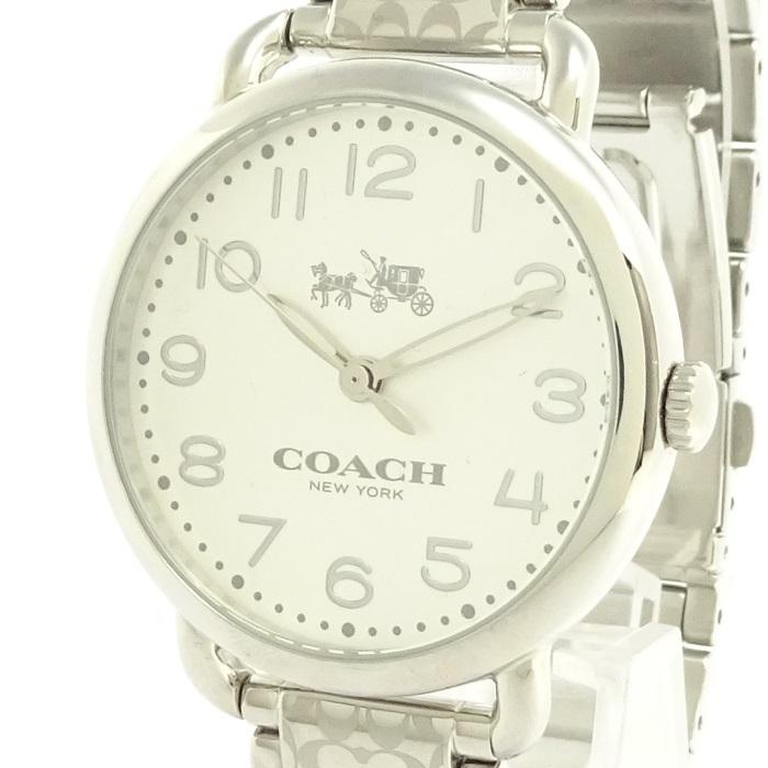 【中古】COACH クォーツ腕時計 シグネチャー 男女兼用 シルバー 白文字盤 CA.97.7.14.1168 SS