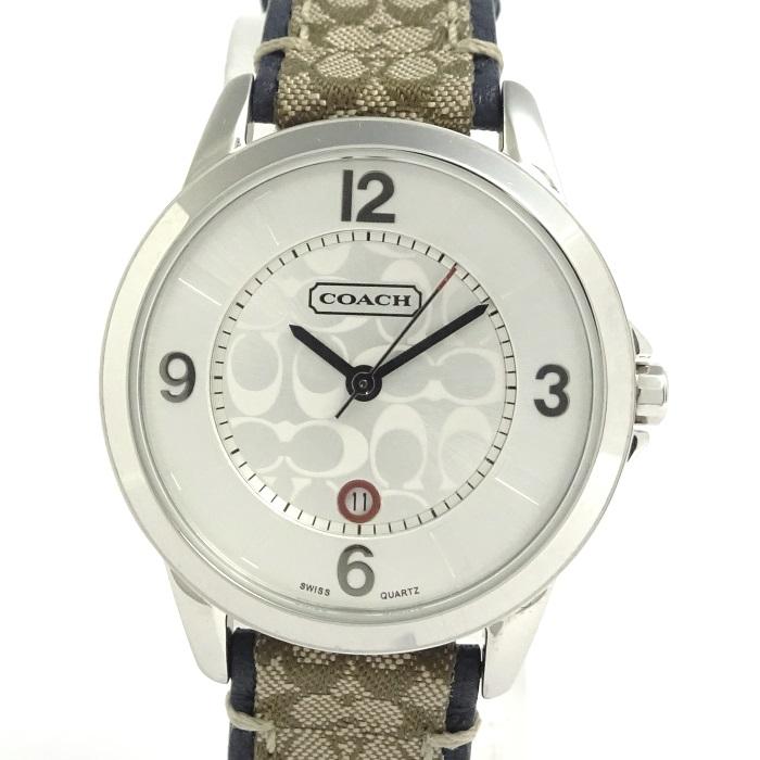 【中古】COACH レディース腕時計 クォーツ シグネチャー レザーベルト シルバー文字盤 0290.1