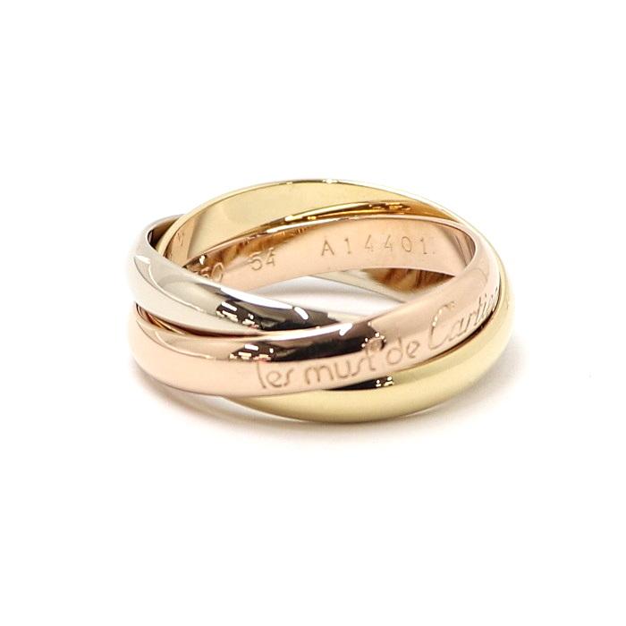 カルティエ【美品】【jewelry】指輪 【中古】Cartier トリニティリング 8.2g K18YG WG PG 750 B40527 表記サイズ54