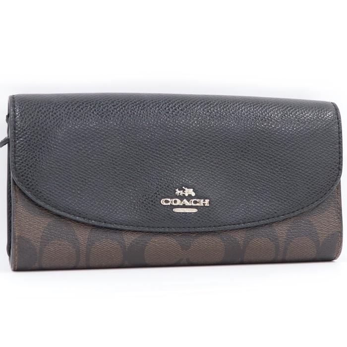 【中古】COACH 二つ折り長財布 シグネチャースリム エンベロープウォレット ブラック/ブラウン PVC F54022