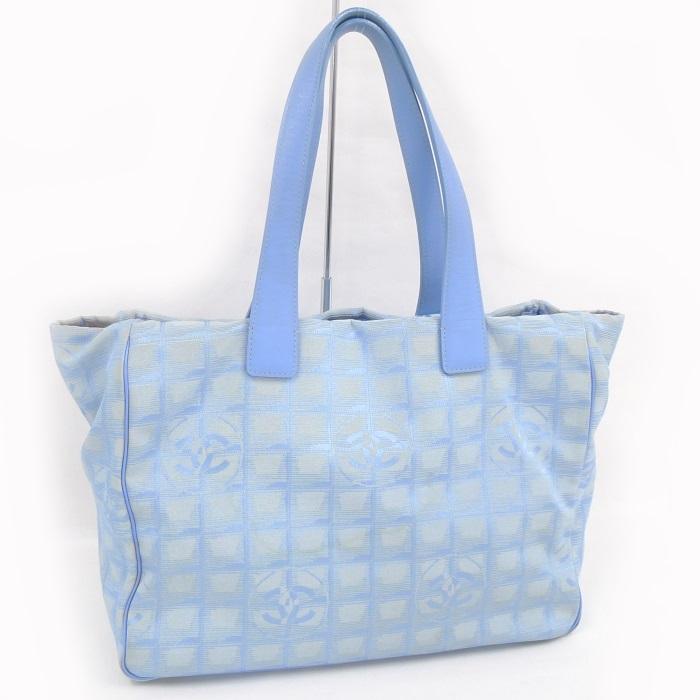 【中古】CHANEL トートバッグ ニュートラベルライントートMM キャンバス ブルー A15991