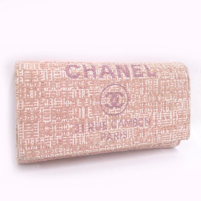 【中古】CHANEL フラップ長財布 ドーヴィル ココマーク ラメ ツィード ピンク A80053