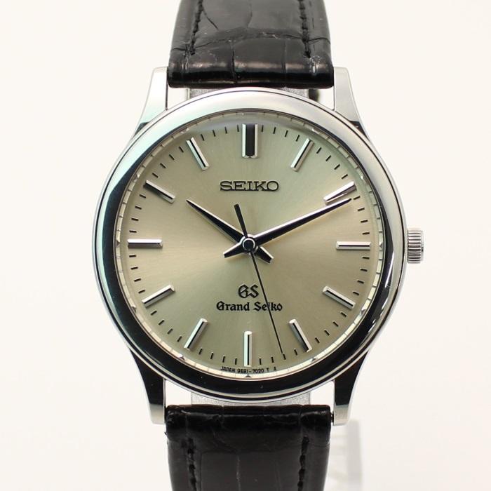 【中古】グランドセイコー メンズ腕時計 クォーツ ステンレス/レザー シルバー/ブラック SBGS009