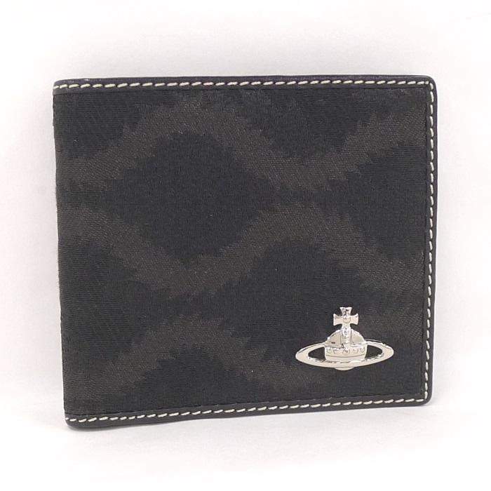 【中古】ヴィヴィアンウエストウッド 二つ折り財布 キャンバス ブラック オーブ 730VX
