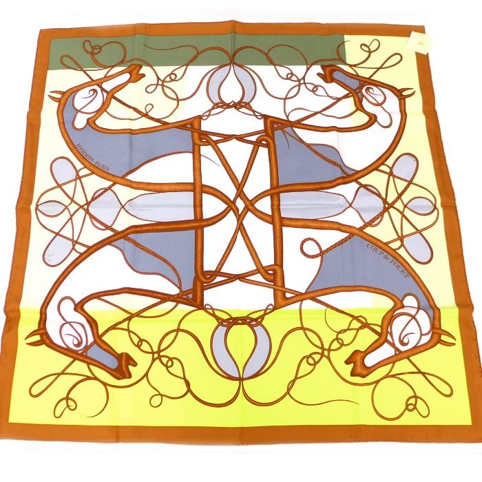 【中古】HERMES カレ90 鞭 ブロック シルク オレンジ/マルチカラー