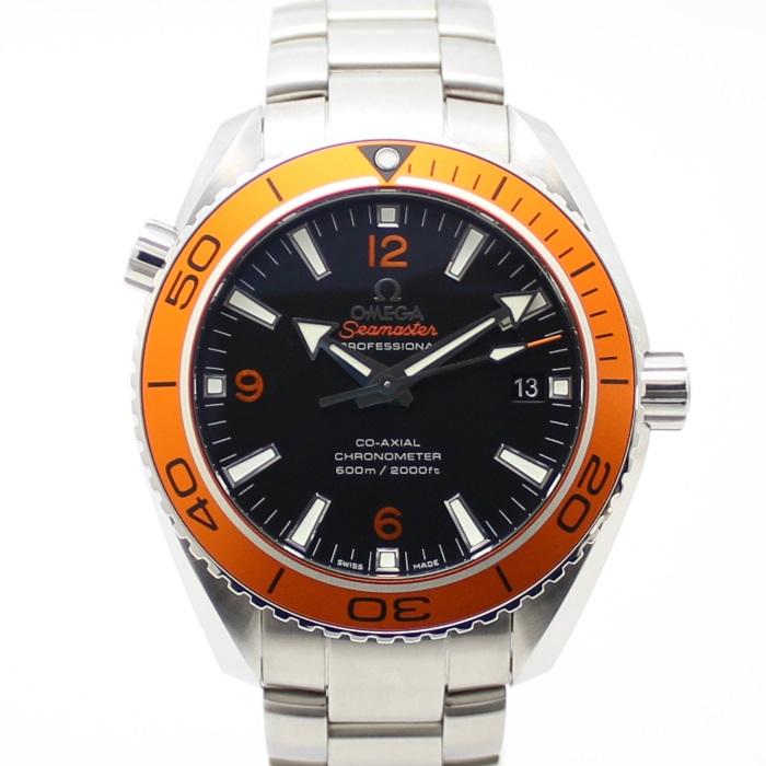 【中古】OMEGA メンズ腕時計 シーマスター プラネットオーシャン 自動巻き SS シルバー/オレンジ/ブラック 232.30.42.21.01.002