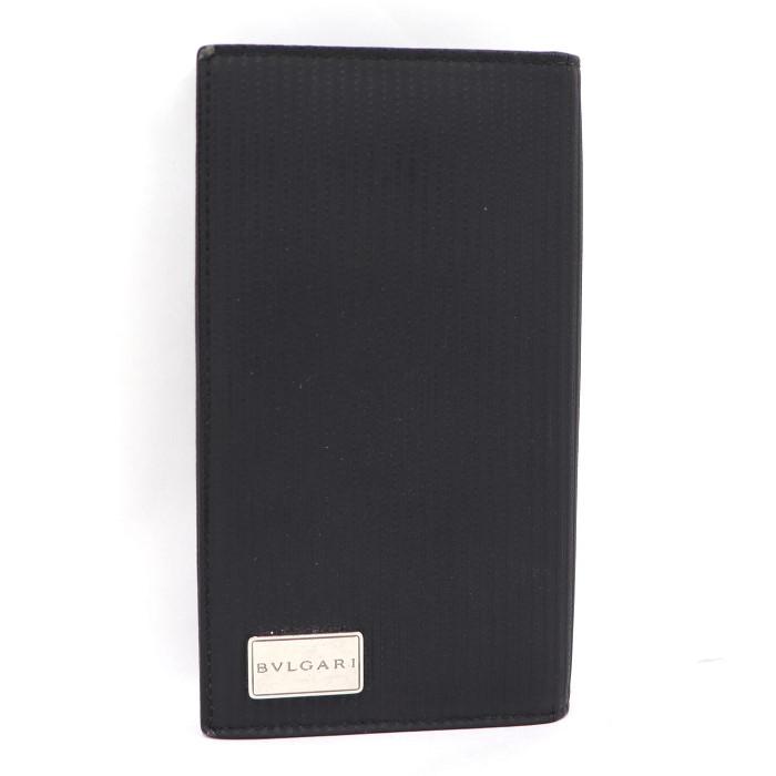 【中古】BVLGARI 二つ折り長財布 ミレリゲ PVCコーティング ブラック 25550