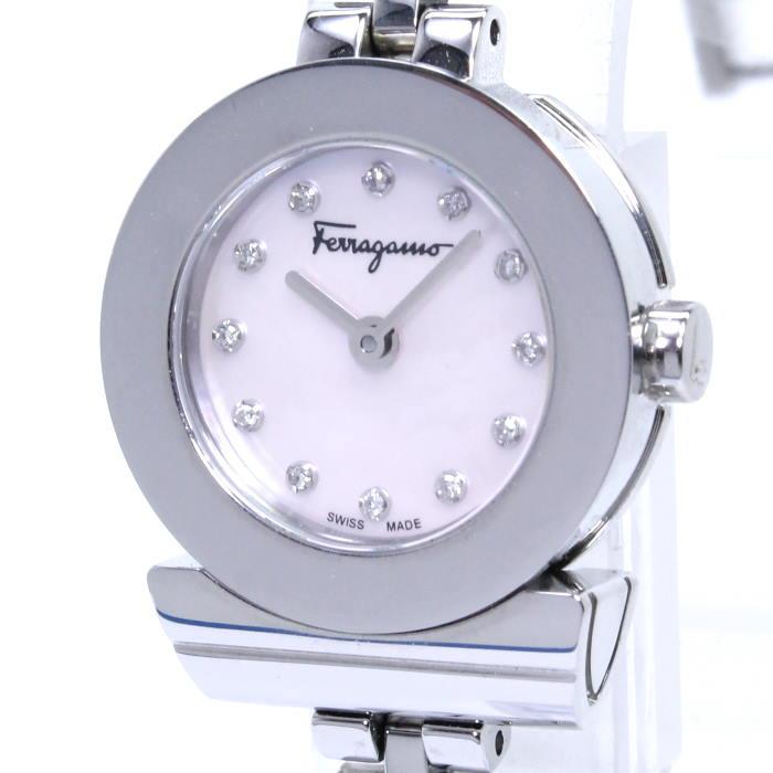【中古】サルヴァトーレ Salvatore Ferragamo レディース腕時計 ガンチーニ 12Pダイヤ クォーツ SS ピンクシェル文字盤 SFBF00118