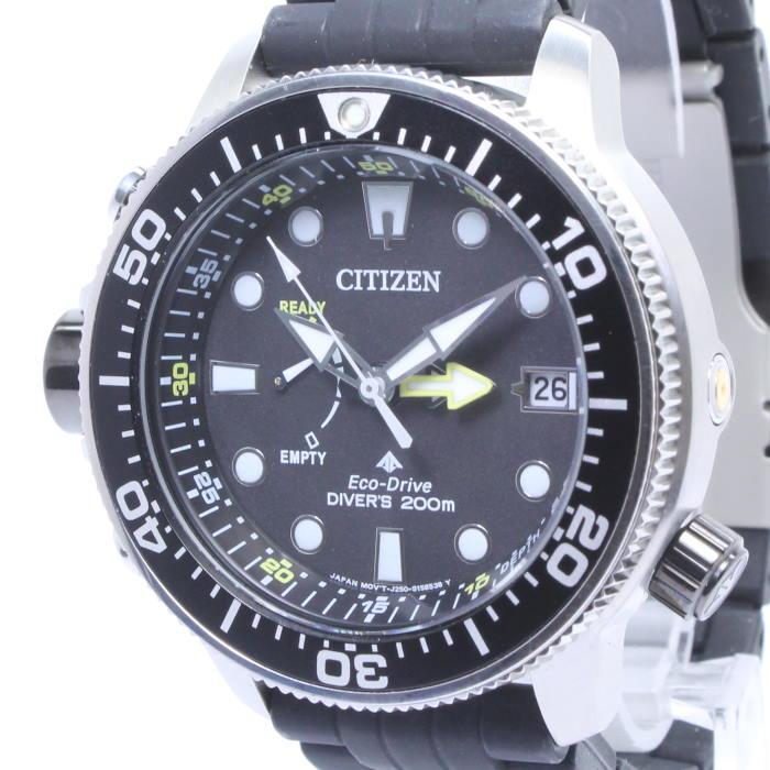 【中古】シチズン プロマスター エコドライブ ダイバーズウォッチ メンズ腕時計 ソーラー SS ラバー ブラック文字盤 BN2036-14E