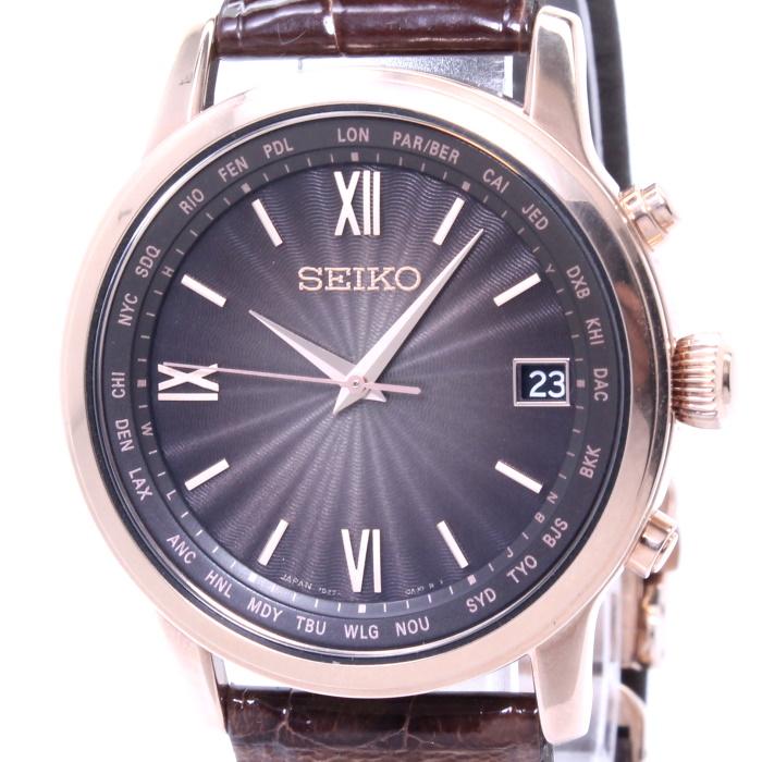 【中古】セイコー ブライツ クラシック メンズ腕時計 電波ソーラー デイト チタン クロコダイル ブラウン文字盤 SAGZ098 7B27-0AE0