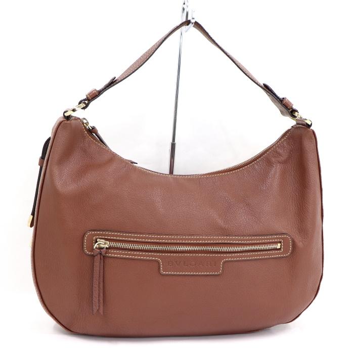 ブルガリ ハンドバッグ 肩かけ 安心の定価販売 中古 BVLGARI ブラウン 人気 おすすめ レザー 10%off実施中 ワンショルダーバッグ