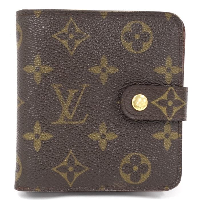 【中古】LOUIS VUITTON コンパクトジップ 二つ折り財布 モノグラム M61667