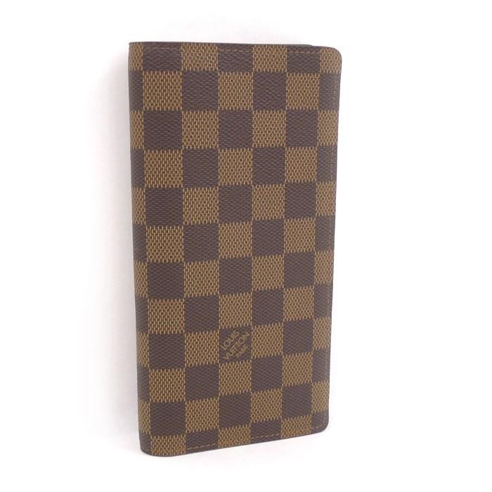 【中古】LOUIS VUITTON 二つ折り長財布 ポルトフォイユブラザ ダミエ エベヌ N60017