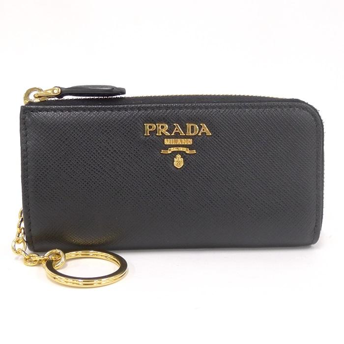 【中古】 PRADA キーリング付きコインケース サフィアーノレザー ブラック ゴールド金具 1PP026