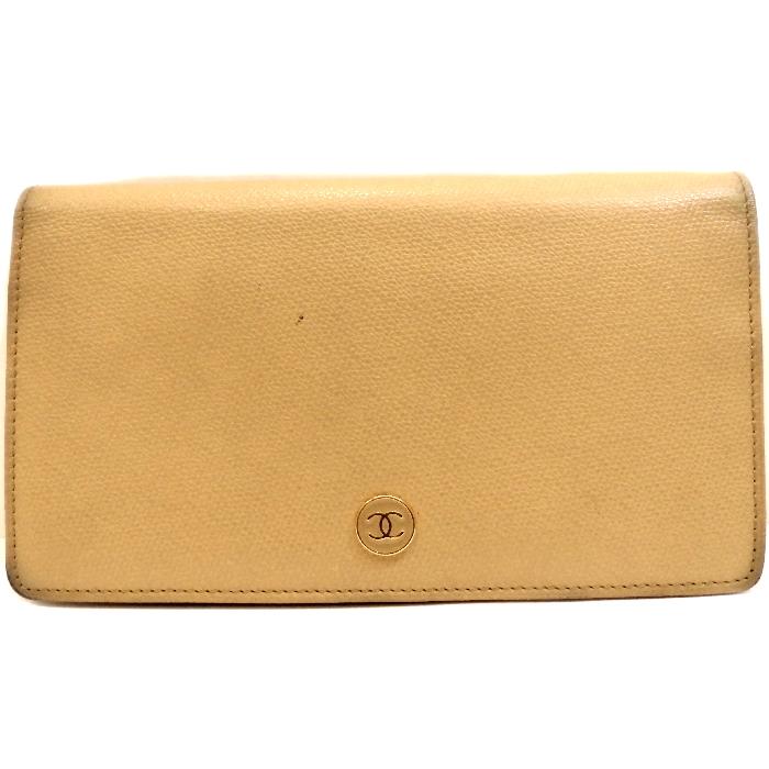 【中古】CHANEL 二つ折り長財布 ココボタン ベージュ キャビアスキン A20904