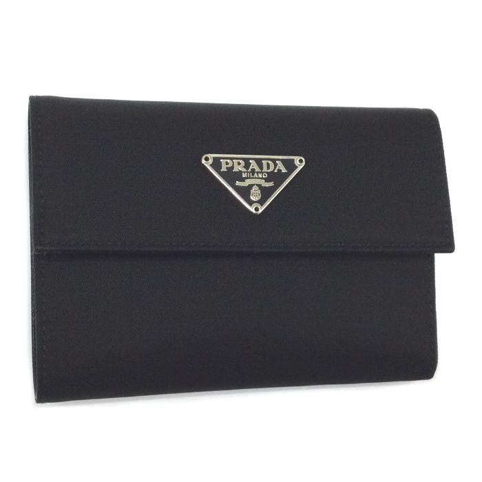 【中古】PRADA 三つ折り財布 ネロ ブラック ナイロン 1M0840