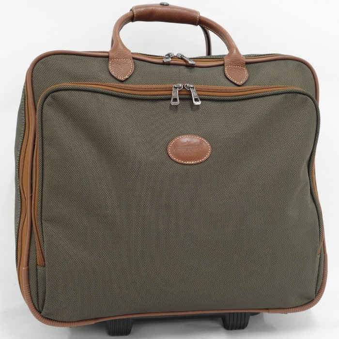 ロンシャン 旅行鞄 【中古】LONGCHAMP キャリーバッグ スーツケース レザー キャンバス カーキ ブラウン