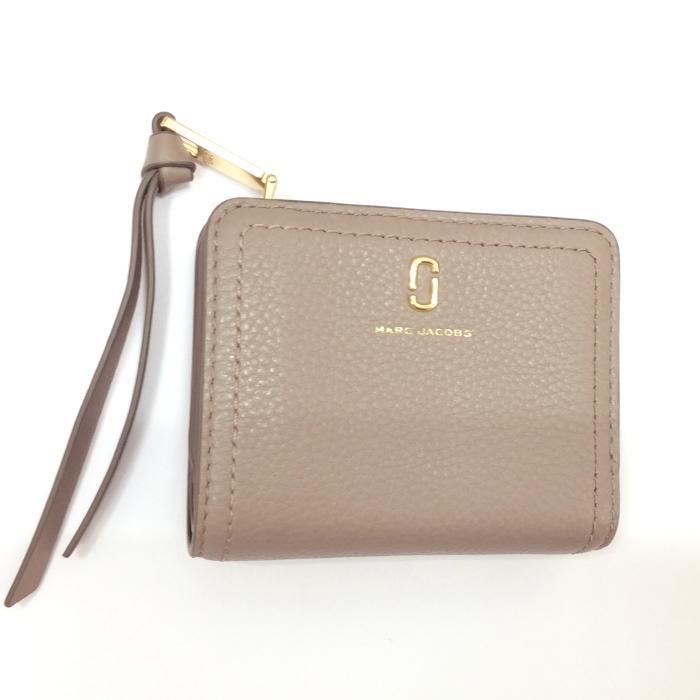 【中古】マークジェイコブス 二つ折り財布 ザ ソフトショット レザー グレー M0015122