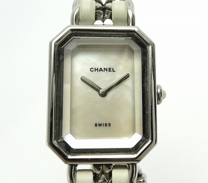 【中古】CHANEL レディース腕時計 プルミエール クオーツ シルバー/ホワイト シェル文字盤 SS/ラバー サイズ表記:M H1639-M