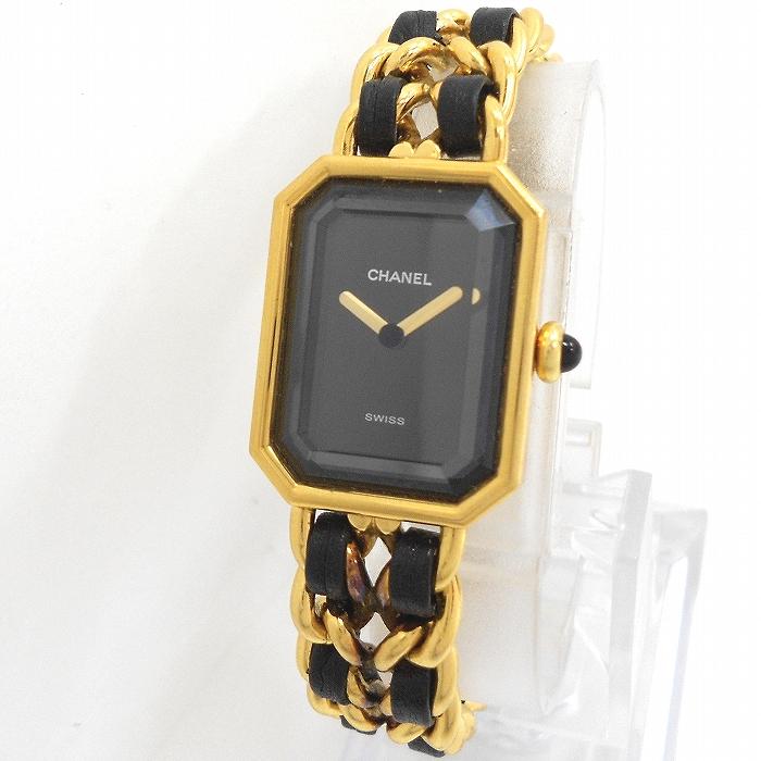 【中古】CHANEL レディース腕時計 プルミエール サイズ表記:M ゴールド/ブラック 文字盤ブラック H0001-M クオーツ
