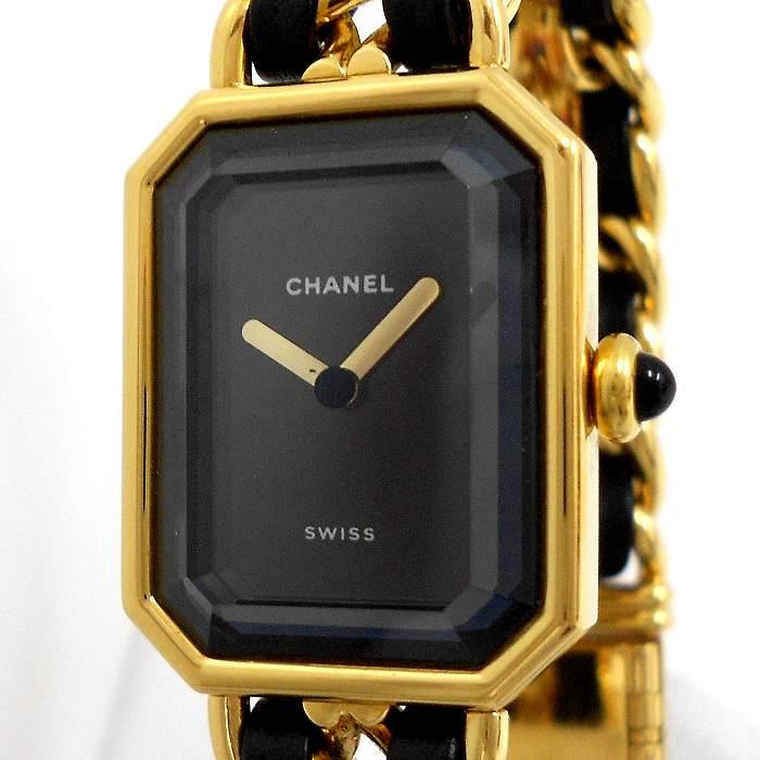 【中古】CHANEL レディース腕時計 プルミエール サイズ表記:L クオーツ ゴールド/ブラック 黒文字盤 H0001-L