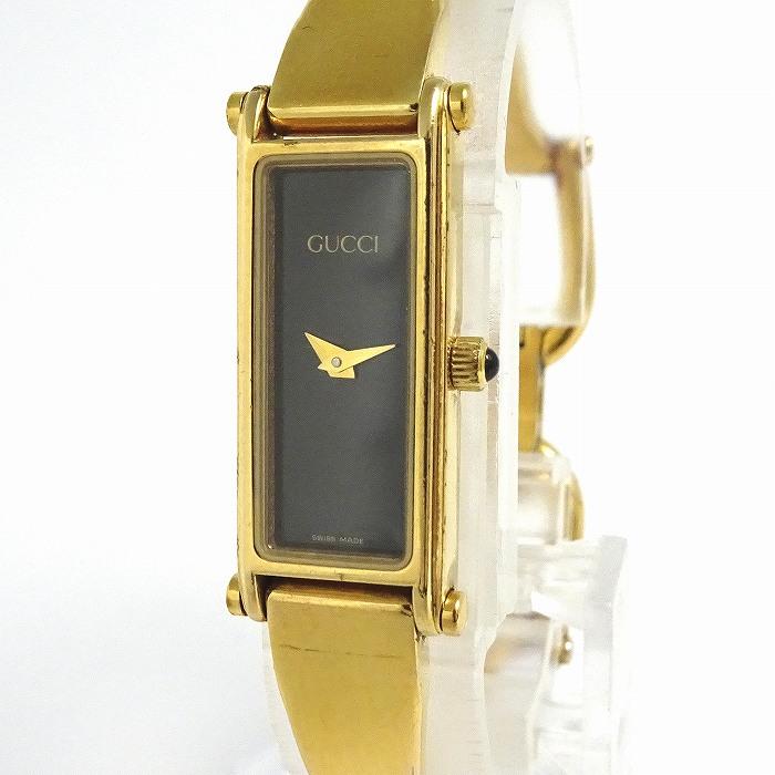 【中古】GUCCI レディース腕時計 バングルウォッチ クオーツ ブラック文字盤 SS ゴールド 1500L