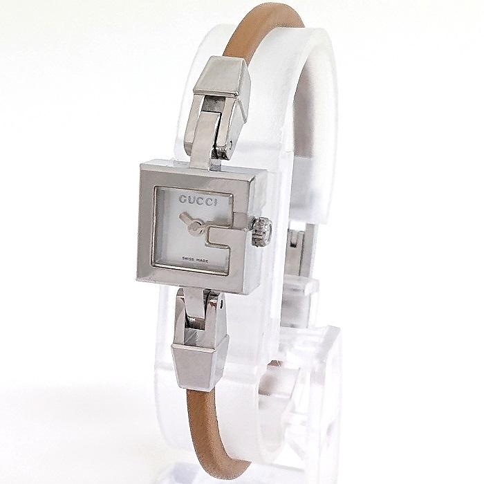 【中古】GUCCI Gミニ レディース腕時計 クオーツ ホワイト文字盤 SS/レザー シルバー/ベージュ系 アナログ 革ベルト YA102502