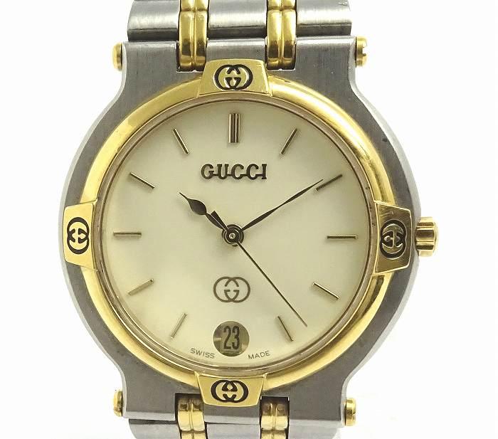【中古】GUCCI メンズ腕時計 9000M クオーツ アイボリー文字盤 SS/GP シルバー/ゴールド アナログ