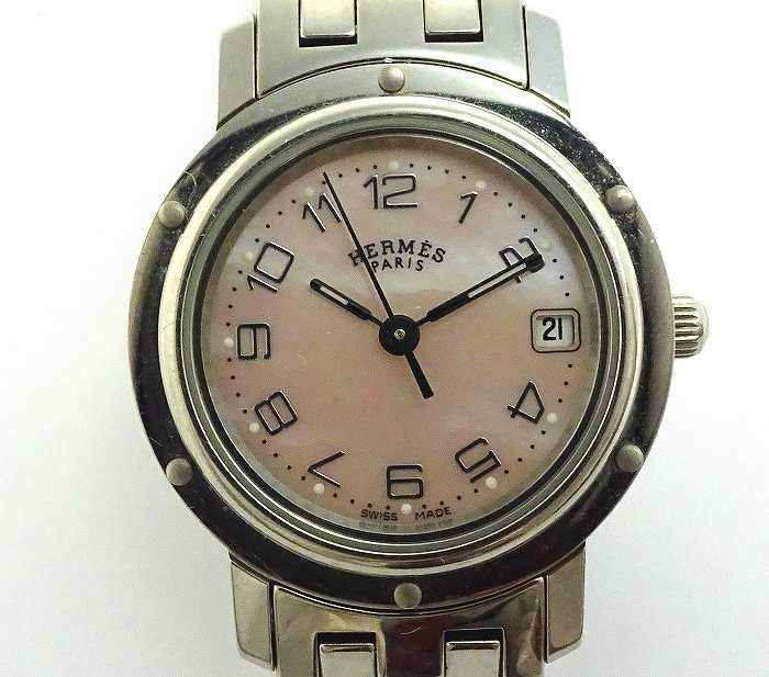 【中古】HERMES レディース腕時計 クリッパー ナクレ クオーツ ピンクシェル文字盤 SS シルバー CL4.210