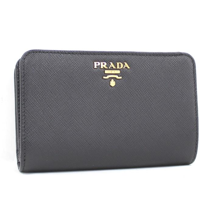 【中古】PRADA 二つ折りL字ファスナー財布 サフィアーノレザー ブラック 1ML225