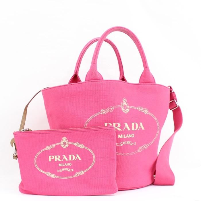 【中古】PRADA カナパ ファブリック 2WAYハンドバッグ キャンバス ピンク 1BG186