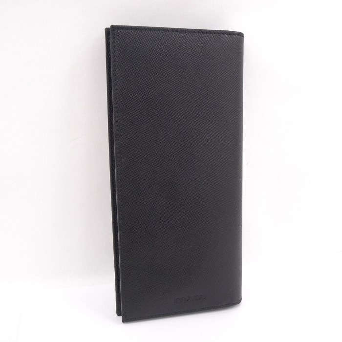【中古】PRADA 二つ折り長財布 サフィアーノレザー ブラック M836
