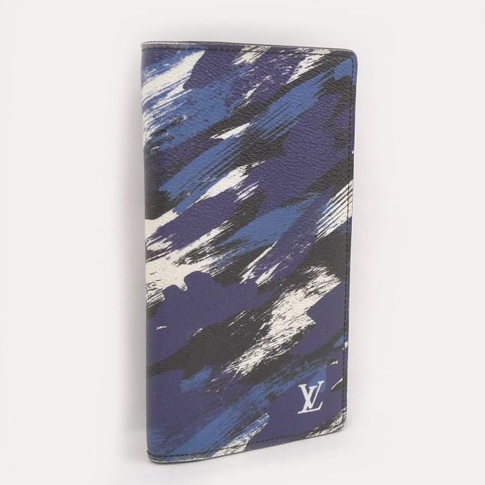 ★決算特価商品★ LOUIS VUITTON ポルトフォイユブラザ 二つ折り長財布 カモフラージュキャンバス ブルー M61747, ノダガワチョウ 7f639527