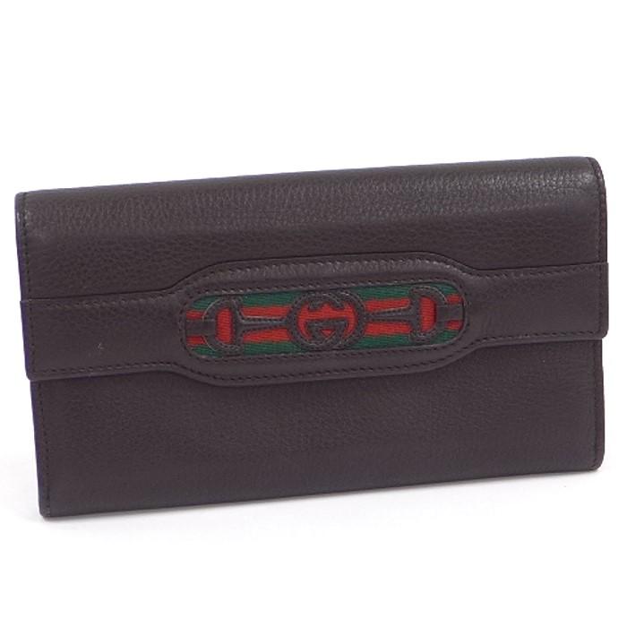 【中古】 GUCCI 二つ折り長財布 インターロッキング シェリーライン ダークブラウン レザー 295353