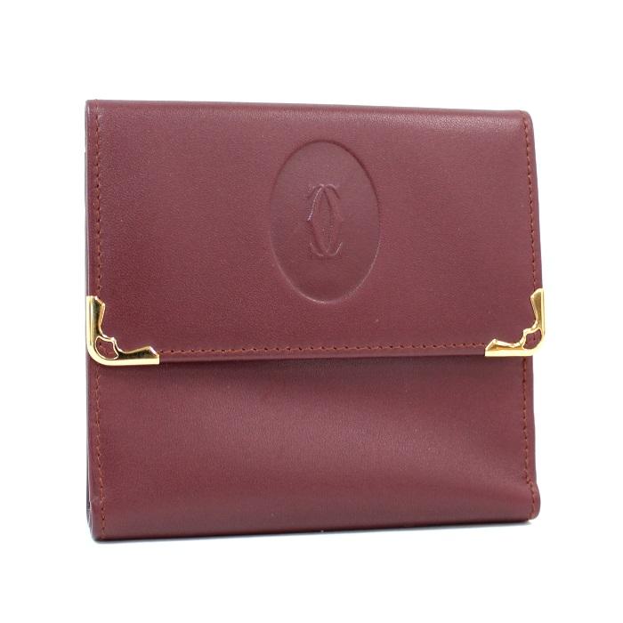 【中古】Cartier 三つ折り財布 がま口 マストライン ボルドー L3000039