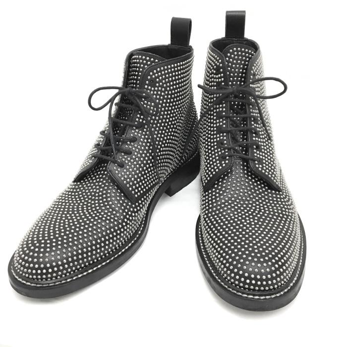 【中古】サンローラン ショートブーツ シルバー スタッズ ブラック レザー 表記サイズ43 484982