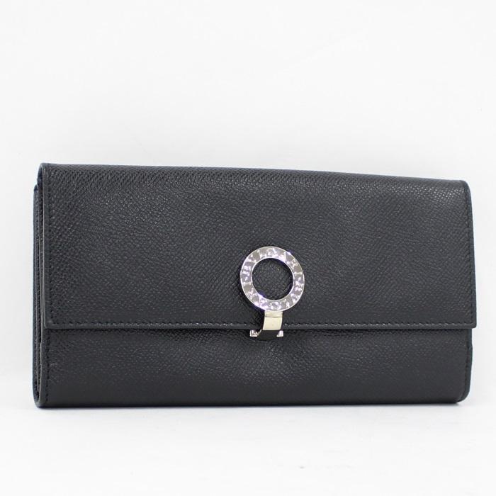 オリジナル BVLGARI Wホック 二つ折り長財布 BVLGARIBVLGARI ロゴクリップ レザー ブラック 30416, KAG-Deli かぐでり b2ff33d5