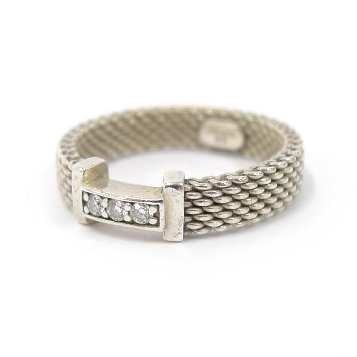 【中古】Tiffany サマセット リング 指輪 SV925 シルバー メッシュ 約8号