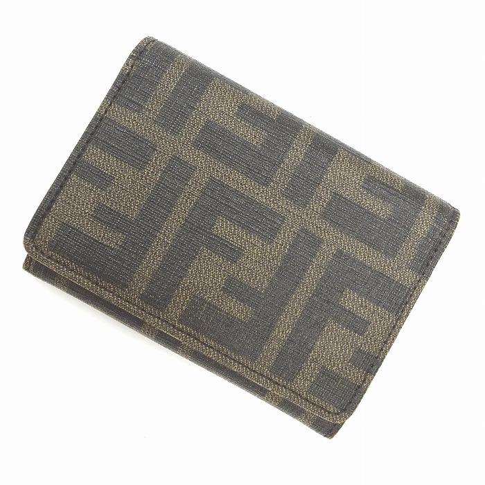 【中古】FENDI カードケース ズッカ柄 PVCコーティング ブラウン 7M0040
