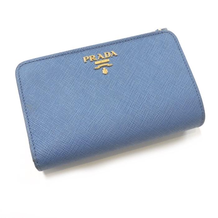 【中古】PRADA 2つ折り財布 サフィアーノレザー ライトブルー 1ML225