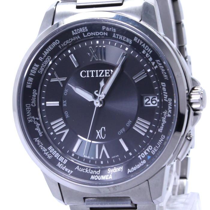 【中古】シチズン クロスシー エコドライブ メンズ腕時計 電波ソーラー クォーツ SS ブラック文字盤 CB1020-54E H149-T018335