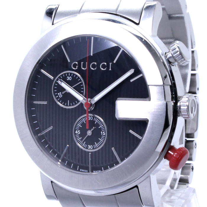 【中古】GUCCI Gクロノ メンズ腕時計 クロノグラフ クォーツ SS ブラック文字盤 101M YA101361