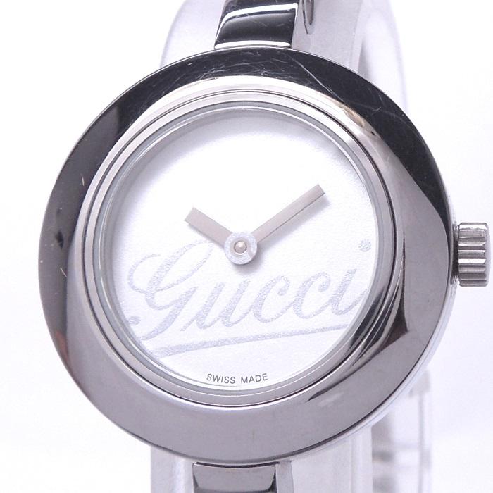 【中古】GUCCI Gサークル バングルウォッチ レディース腕時計 クォーツ SS ホワイト文字盤 105/YA105543